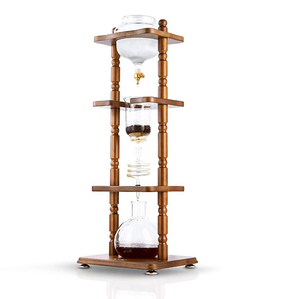 ❉﹍❃หม้อกาแฟ  ธุรกิจใช้เครื่องทำน้ำหยดเครื่องชงกาแฟดัตช์เครื่องทำน้ำแข็งเย็นกาแฟ/หม้อชาแก้วไม้1050ml/3000ml