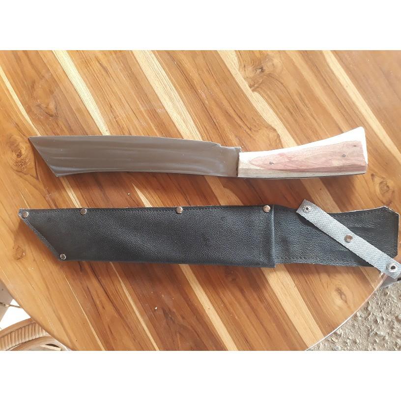 มีดพกเหล็กแหนบทรงตรงปลายตัด 12 นิ้ว ด้ามไม้ประกบ