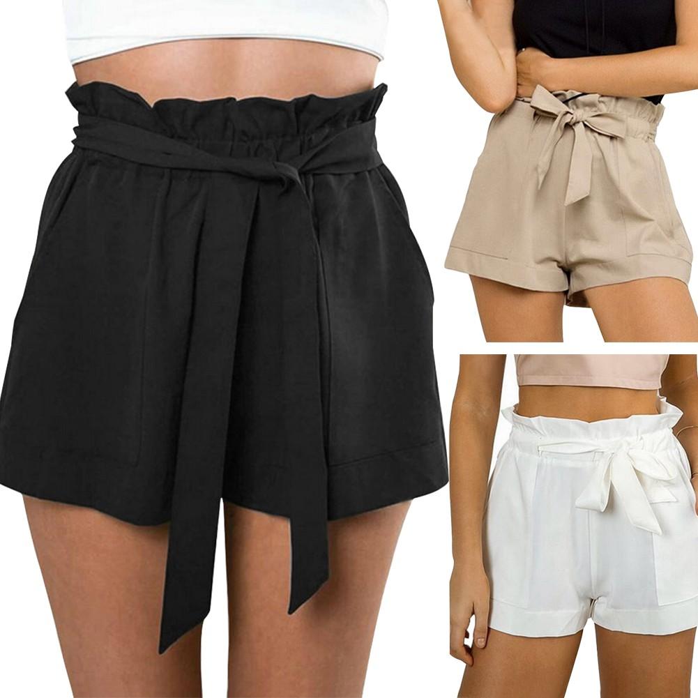 ab0e0fe8eb ♥BDF♥Women Casual Loose Summer Beach Bow High Waist Belt Shorts Hot Pants  Trousers