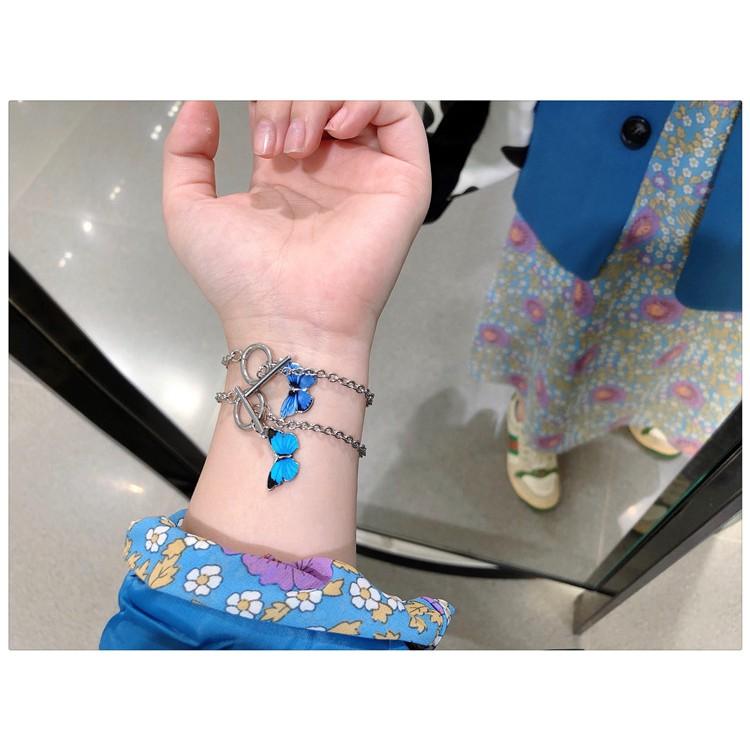 (C-001) กำไลข้อมือรูปผีเสื้อ เครื่องประดับสร้อยข้อมือโซ่จี้ผีเสื้อคลาสสิก สไตล์เกาหลี