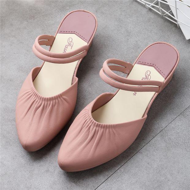 ▧☌✇FaJa รองเท้าคัชชูหัวแหลม มีส้น รุ่นรองเท้าแตะผู้หญิง