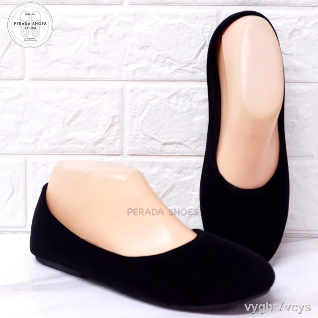 รองเท้าแตะผู้หญิง№﹉■รองเท้าคัชชู กำมะหยีดำ เบอร์ 35-44
