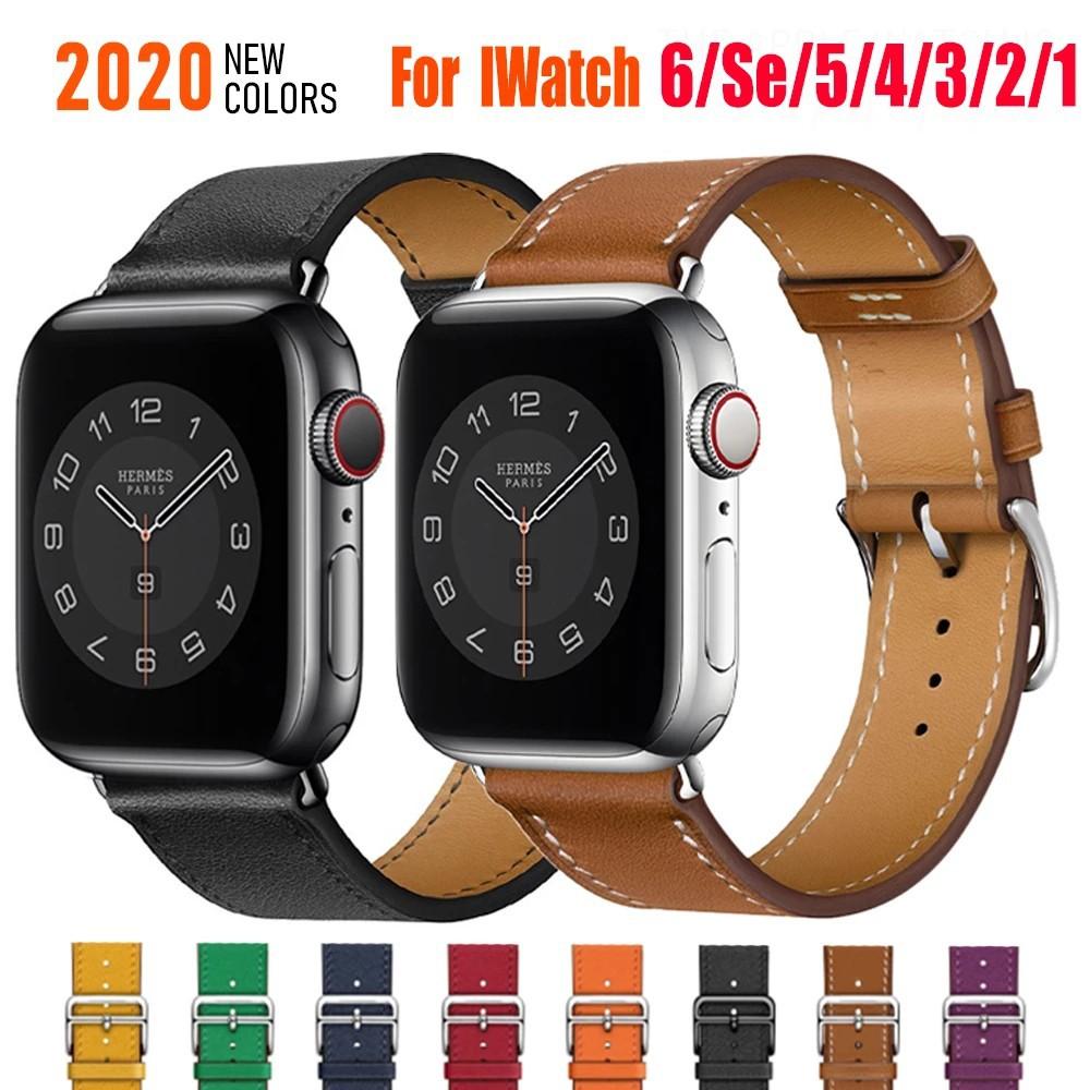 สาย applewatch สายนาฬิกา applewatch Hermes สายนาฬิกาข้อมือสายหนังสําหรับ Apple Watch Band 44 มม . 40 มม . 38 มม . 42 มม