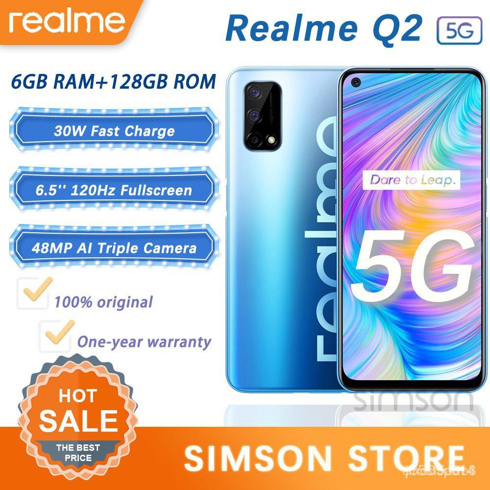 Realme Q2/Q3i 5G สมาร์ทโฟน6GB 128GB ฮูดแท้100% โทรศัพท์มือถือ Dimensity 800U Octa Core 48MP กล้อง6.5 120Hz แบบเต็มจอ5001
