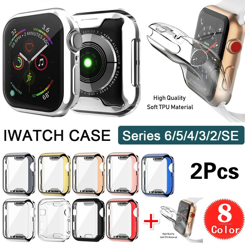 【Ready Stock】2pcs 360 degree ultra-thin watch case for Apple Watch 4 44mm/42mm 40mm/38mm case iWatch 6/5/4/3/2/1 series protective case soft transparent TPU screen protector