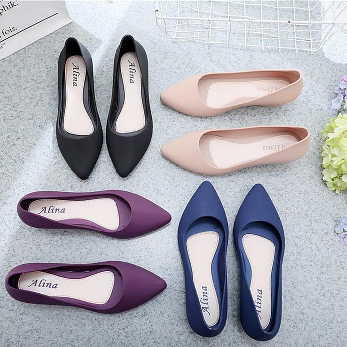 Sale‼️ 🔥New Fshion 8306# รองเท้าคัชชูหัวแหลม รองเท้ายางนิ่ม รองเท้ารัดส้น ส้นเตารีด สีพื้น พื้นนิ่ม ใส่สบาย