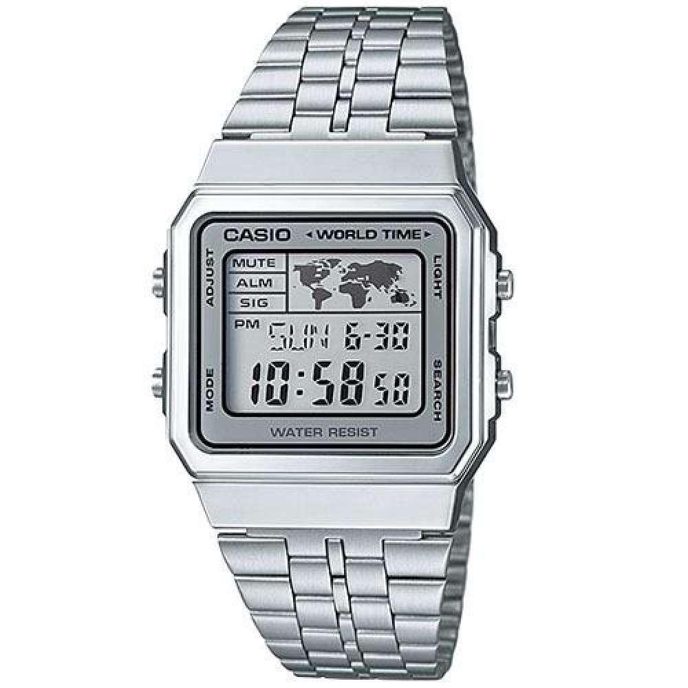 CASIO Standard นาฬิกาข้อมือ สีเงิน สายสแตนเลส รุ่น A500WA-7DF