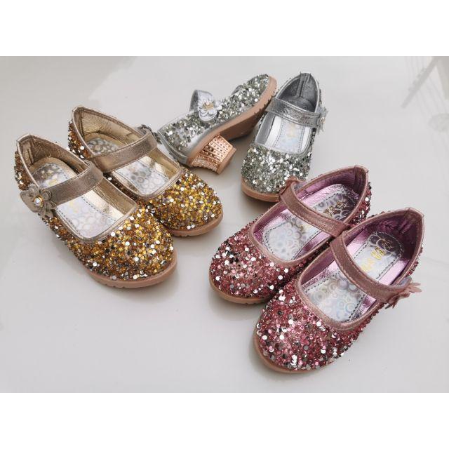 รองเท้าส้นสูงเด็ก BB SHOES คัชชูเด็กผู้หญิง รองเท้าเจ้าหญิง รองเท้ากากเพชร แตะ 2020