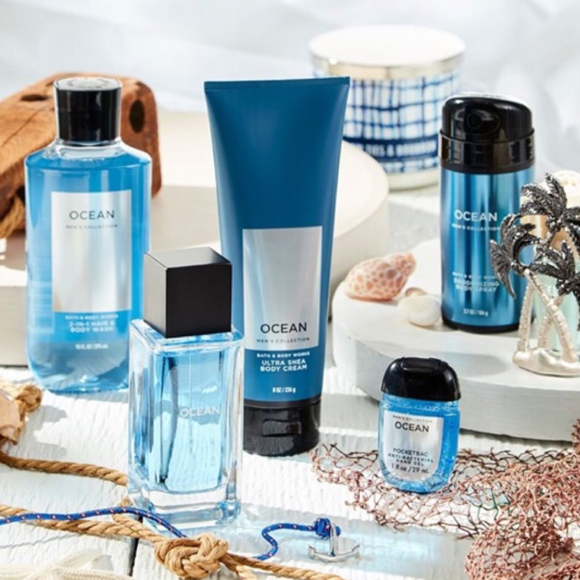 Bath & Body Work Men's Collection ( OCEAN ) Ultra Shea Body Cream / 2 in 1 Hair & Body Wash / Body Spray / Body Colonge