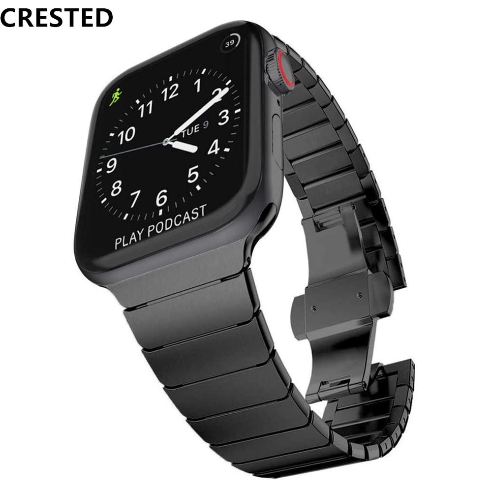 สายนาฬิกาข้อมือสแตนเลสสตีลหรูหราสําหรับ Apple Watch 44 มม./42 มม. Iwatch Series 5 3 4 Band 40 มม. 38 มม.