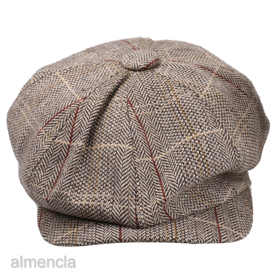 Mens Tweed Herringbone Newsboy Cap Peaky Blinders Baker Boy Flat Ivy Cabbie Hat
