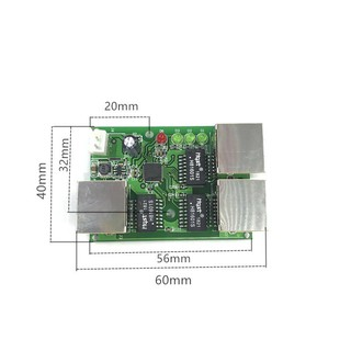 OEM factory direct mini fast 10 / 100mbs 3ort Ethernet network lan hub switch board twolayer cb 3 rj45 5V 12V head ort K