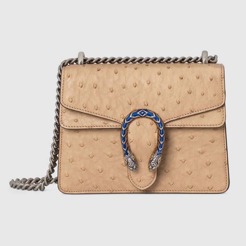 แบรนด์ใหม่ Gucci Dionysus ซีรีส์กระเป๋าถือหนังนกกระจอกเทศขนาดเล็ก 20 ซม. สีน้ำตาล