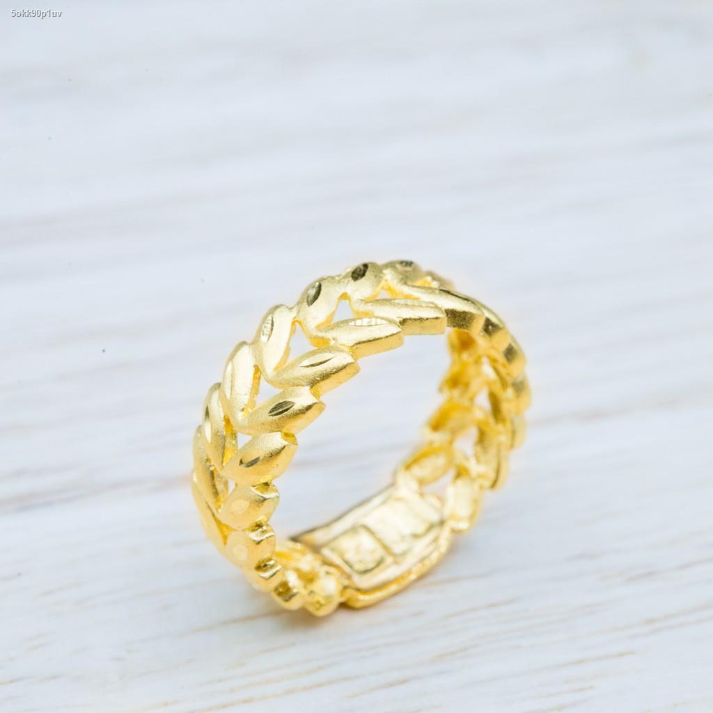 ราคาต่ำสุด✗☄⭐ แหวนทองลายใบมะกอกรอบวง น้ำหนัก 1สลึง