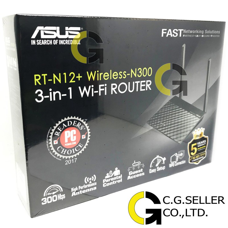 ASUS RT-N12+ ประกันศูนย์ไทย 5ปีส่งโดยเคอรี่ ASUS RT-N12+ Wireless N300  Router/AP/Range