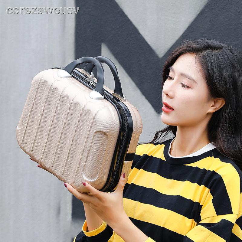 ☾☄☈ใหม่กล่องล้างกระเป๋าเครื่องสำอางแบบพกพา 14 นิ้วนักเรียนหญิงเกาหลีขนาดเล็กสดเล็กกระเป๋าเดินทางมินิกระเป๋าเครื่องสำอาง