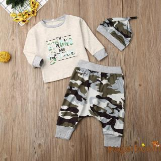 Review SgmAutumn Newborn Baby Boys Cotton Camouflage Clothes Long Sleeve Tops+Camo Hat Long Pants Leggings Outfits Set