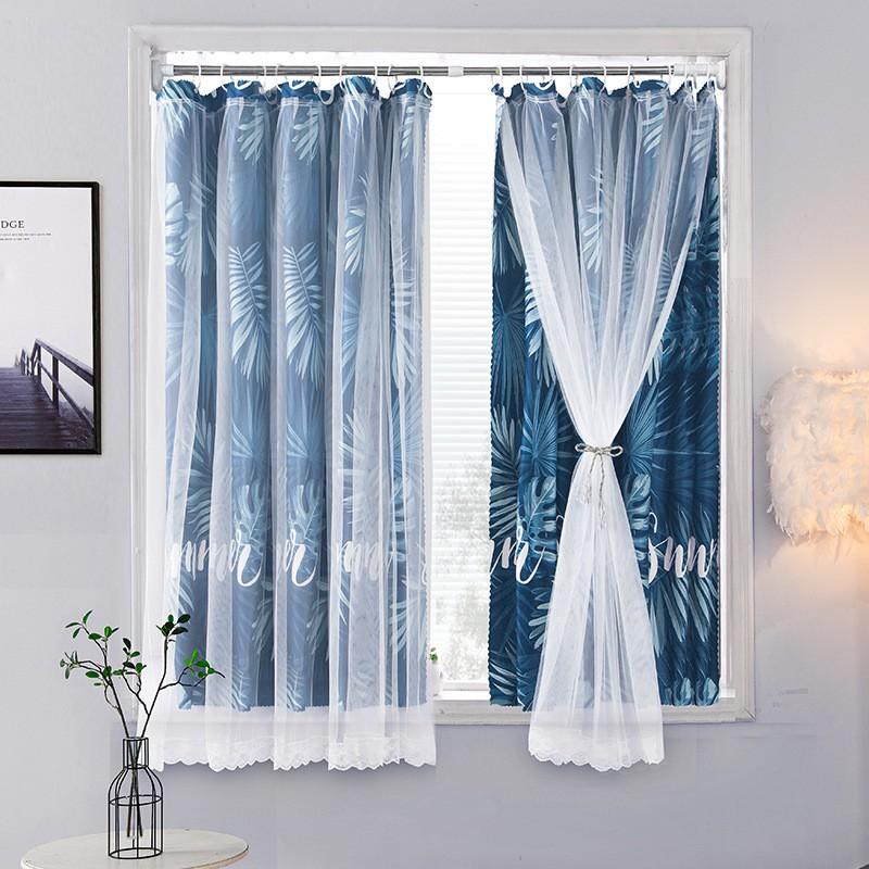 ผ้าม่านหน้าต่าง ผ้าม่านหประตู ม่านสำเร็จรูป ผ้าม่าน้อยท่อ ตาไก่ 2 ชั้น CS02