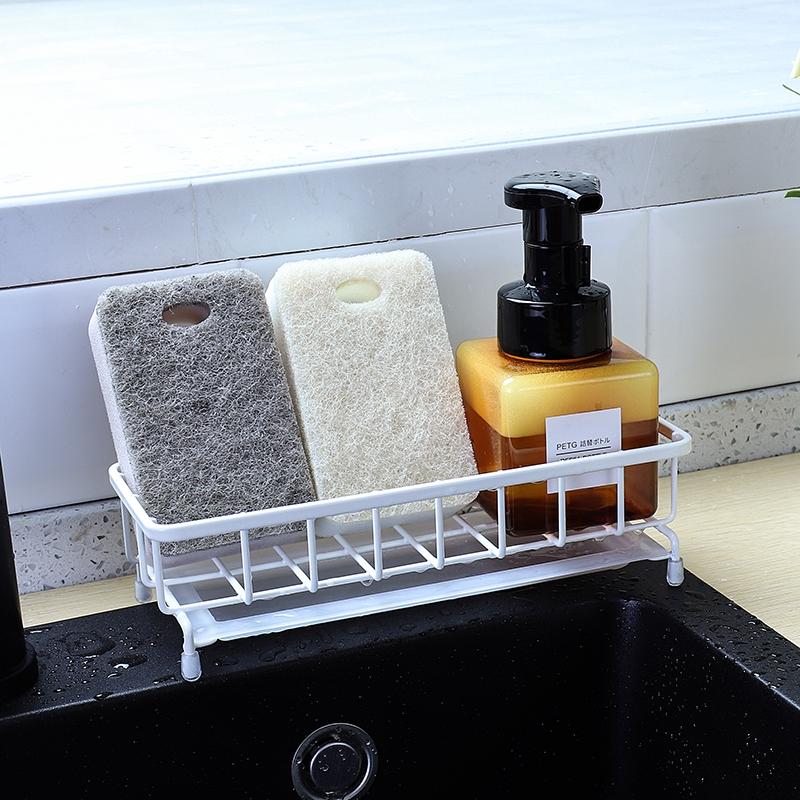 ครัวฟองน้ำชั้นวางท่อระบายน้ำสแตนเลสพรุนอ่างล้างจานน้ำยาล้างจานชั้นเก็บของ