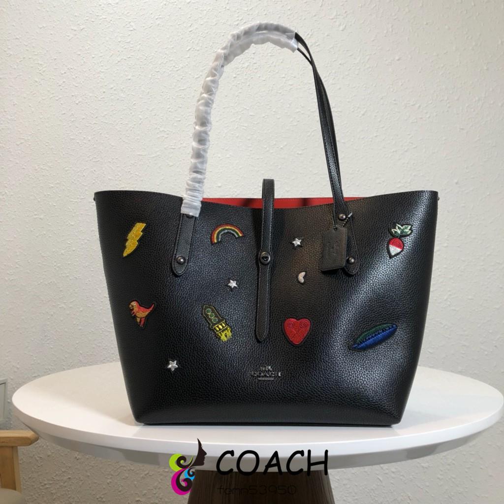 แท้💯%Coach / COACH F57077 กระเป๋าผ้าทอปักลายกระเป๋าสะพายกระเป๋าช้อปปิ้งกระเป๋าสะพาย Coach กระเป๋าผู้หญิง