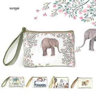 ☆SG☆Women Mini Cute Elephant Elk Whale Cat Printed Handbag Coin Purse Phone Bag