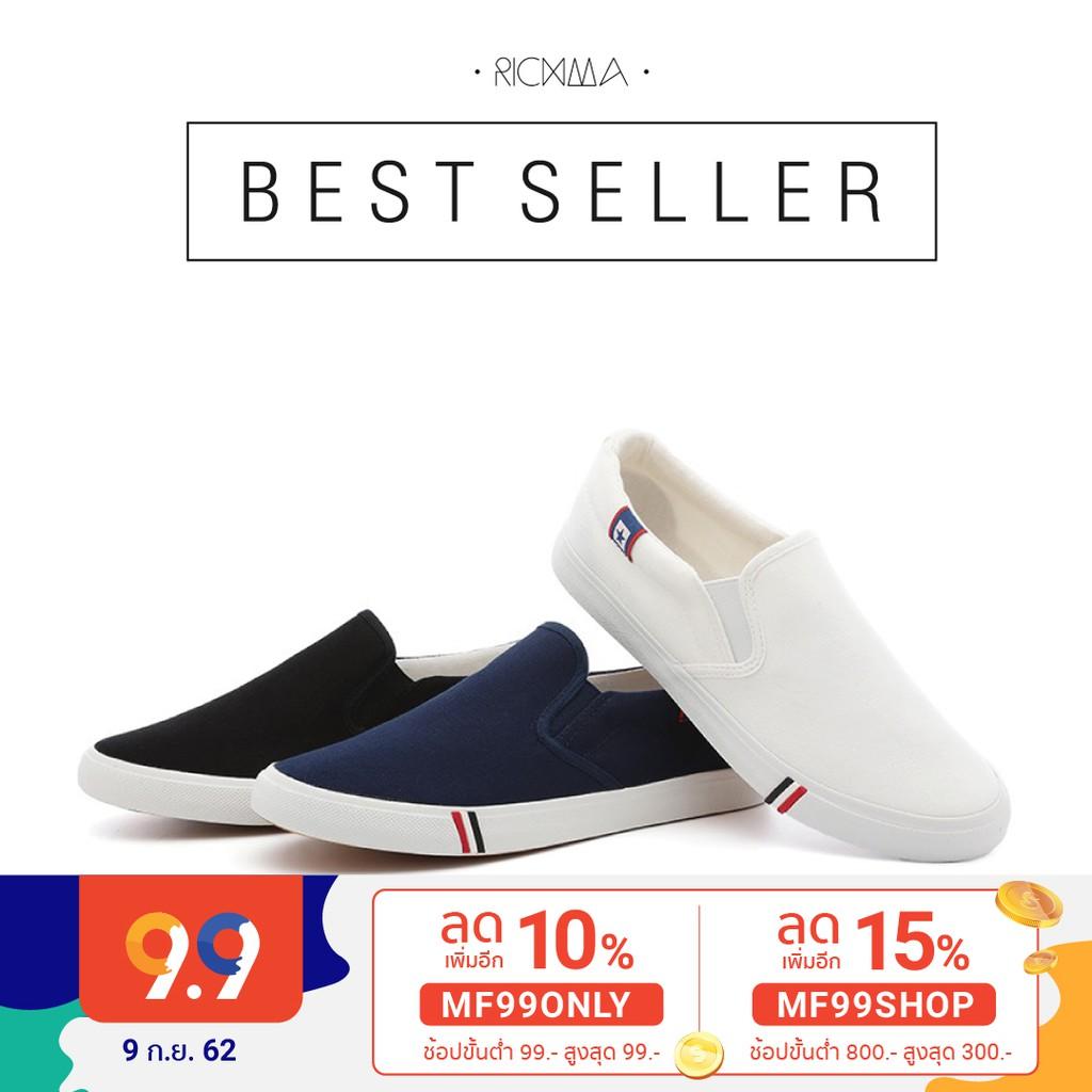 RichmaMen [ F2.1 ] รองเท้าผ้าใบแบบสวม รองเท้าผ้าใบผู้ชาย รองเท้าผ้าใบแฟชั่น 4 สี