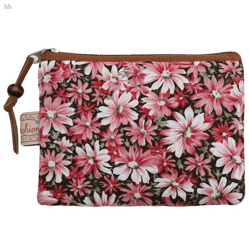 กระเป๋าสตางค์กระเป๋าใส่บัตรแบรนด์เนมกระเป๋าใส่บัตร coachกระเป๋าใส่สตางค์●กระเป๋าเล็กกระเป๋าสตางค์ผ้าฝ้ายลายดอกไม้ย้อนย