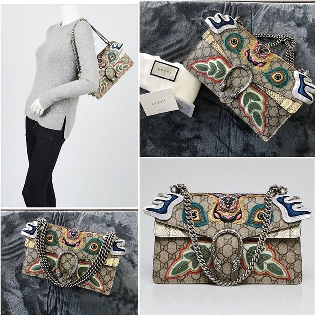 Gucci Beige GG Supreme Coated Canvas and Python Embroidered Dionysus Small Shoulder Bag  ลิมิเต็ด 2019 ไพรทรอน