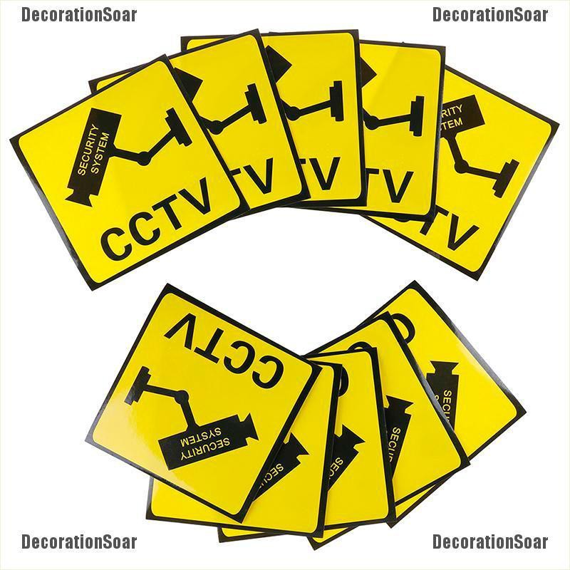 45-200mm CCTV 24 Hour Surveillance Triangle Sign Sticker Safety Warning Camera
