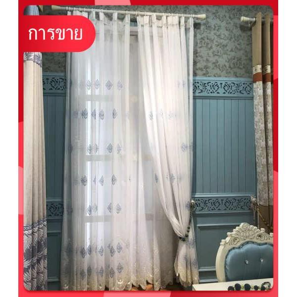 ผ้าม่านสำเร็จรูป สไตล์จีนใหม่ที่เรียบง่าย ระเบียงหน้าต่างฉากกั้นห้องสีฟ้าปักสวยงาม
