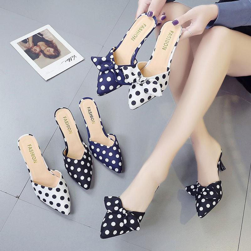 รองเท้าส้นสูง หัวแหลม ส้นเข็ม ใส่สบาย New Fshion รองเท้าคัชชูหัวแหลม  รองเท้าแฟชั่นรองเท้าแตะของผู้หญิงในช่วงฤดูร้อนสวมใ
