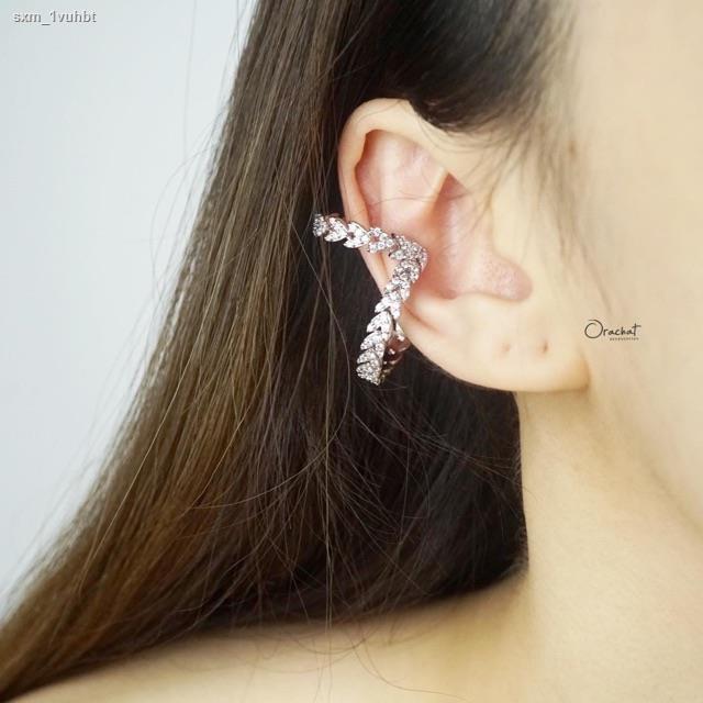 ราคาต่ำสุด✗Double fred ear cuff. (ทรงเกาะหู งานชุบทองคำขาว เพชร CZ)