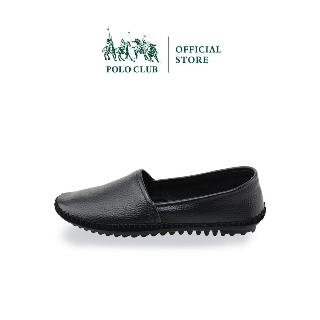 POLO CLUB รองเท้าคัชชูหนัง หัวมน ส้นเตี้ย  สีดำ  รุ่น P1789