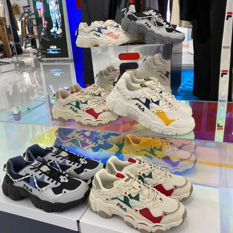 ™FILA cat claw shoes 2021 ใหม่ชายและหญิงรองเท้าคู่ retro รองเท้าวิ่ง F12W114111FBA