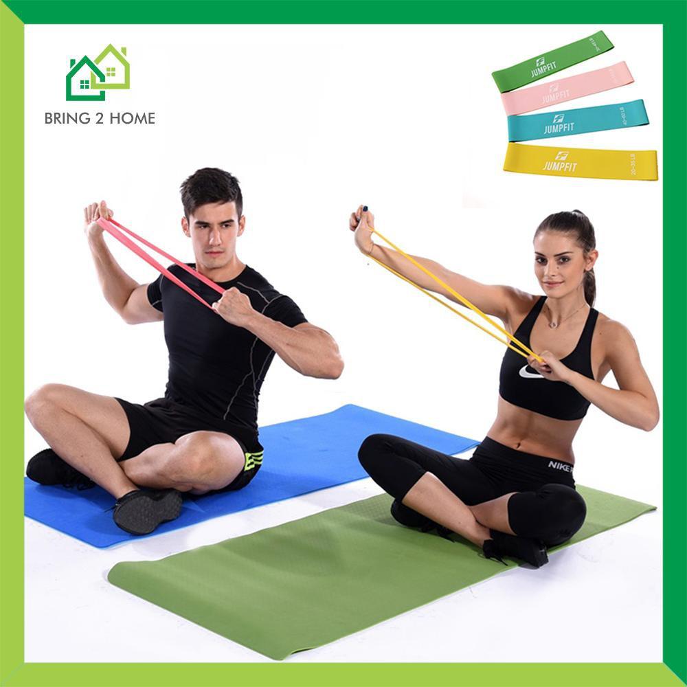 อุปกรณ์ฟิตเนสและออกกำลังกายอื่นin กีฬาและกิจกรรมกลางแจ้ง♗✔Bring2Home ผ้ายืดออกกำลังกาย ยางยืดวงแหวน ความหนืด 4 ระดับ แบ