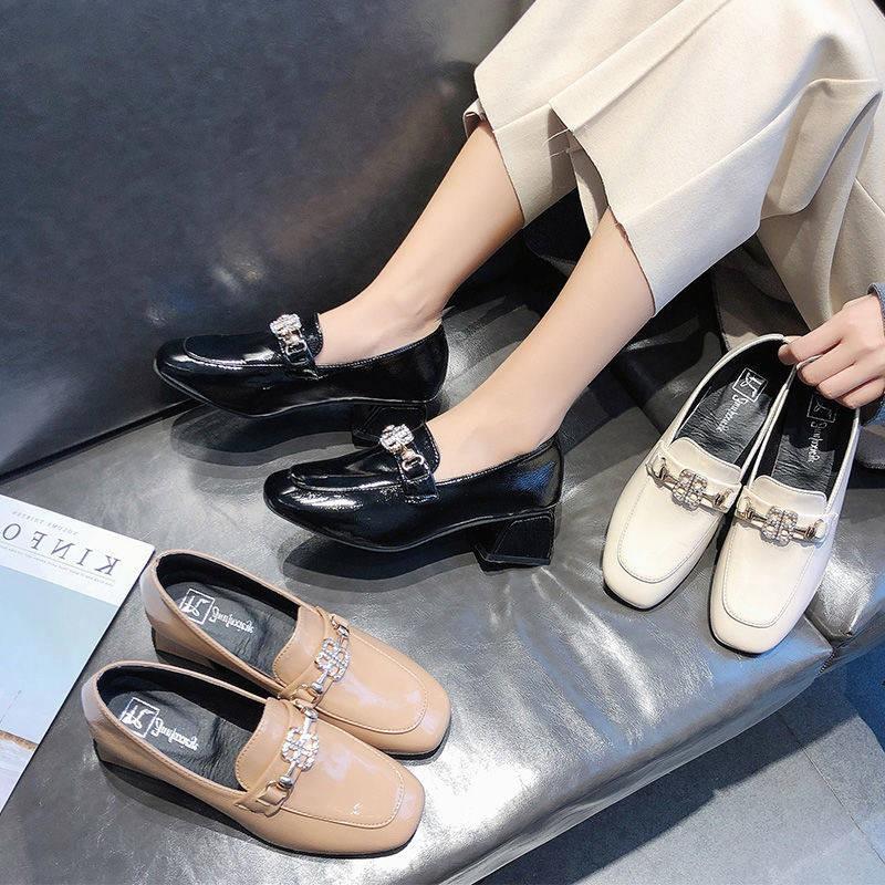 รองเท้าผู้หญิง รองเท้าคัชชู ✼สีดำหนากับรองเท้าเดียวหญิง 2021 ชั้นวางม้าใหม่ Loffs รองเท้าหญิงฤดูใบไม้ผลิและฤดูใบไม้ร่วง,