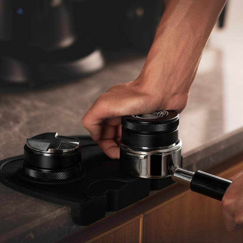 58mmเครื่องทำผงผ้า ที่กดผงกาแฟ ด้าย/สี่พาย มืออาชีพกึ่งอัตโนมัติเครื่องชงกาแฟผงค้อนชุดCOD