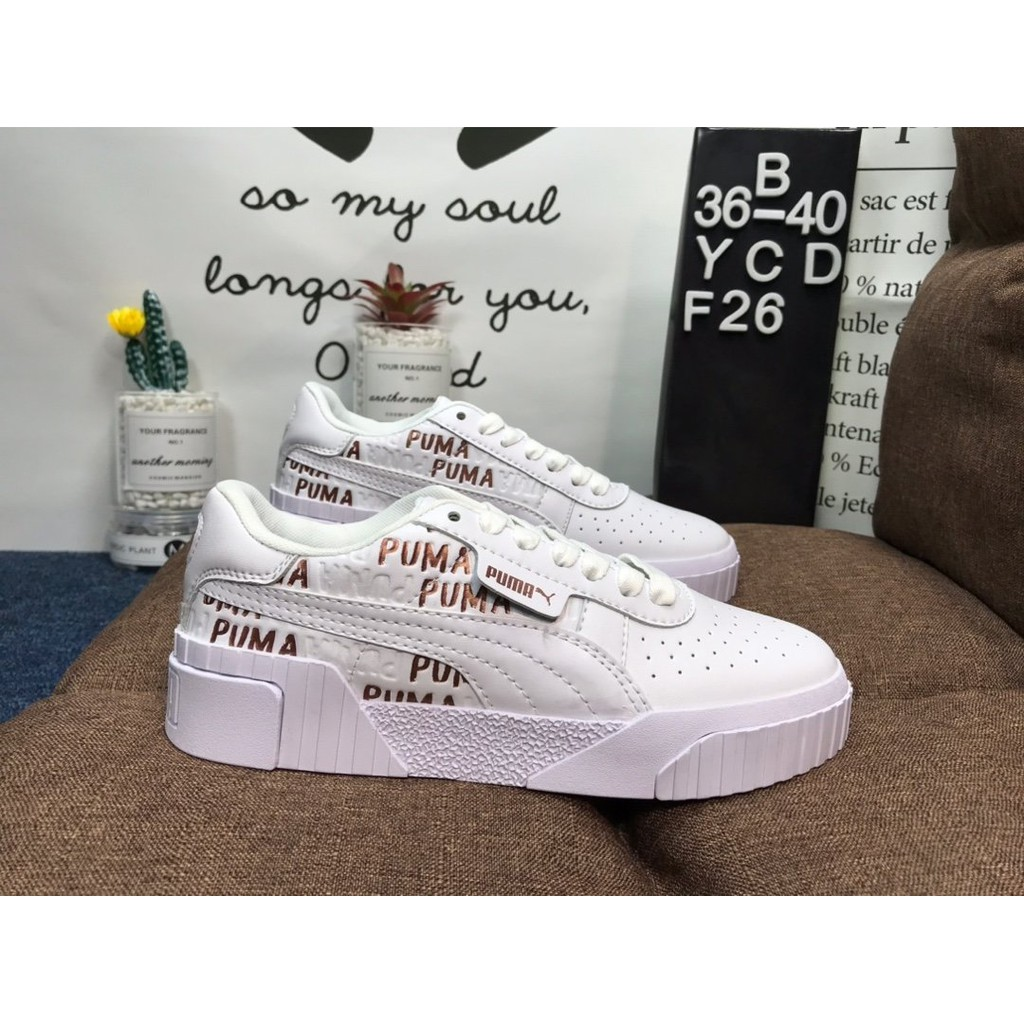 Puma Cali Pure White Rose Gold  รองเท้าผ้าใบจัดส่งฟรีรองเท้าสำหรับผู้หญิงเพิ่มของแท้