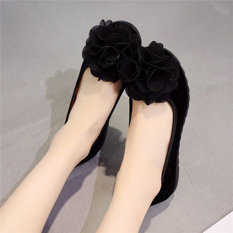 ร้องเท้า รองเท้าผู้หญิง รองเท้าคัชชู ✸เก่าปักกิ่งผ้ารองเท้ารองเท้าผู้หญิงรองเท้าเดียว Peas รองเท้าดอกไม้สีดำรองเท้าทำงาน
