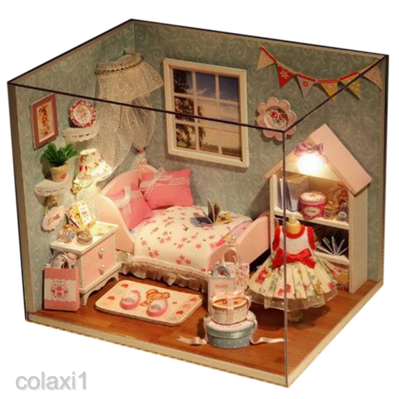 DIY Wood Dollhouse Miniature House Room Model with Furniture Kit and LED Light