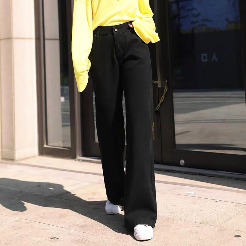 ?YH#8529?มีไซซ์ S-3XL?กางเกงยีนส์ เอวสูง สไตล์เกาหลี แนววินเทจ เท้ากว้าง กางเกงยีนส์ขายาว สวยๆเก๋ๆ