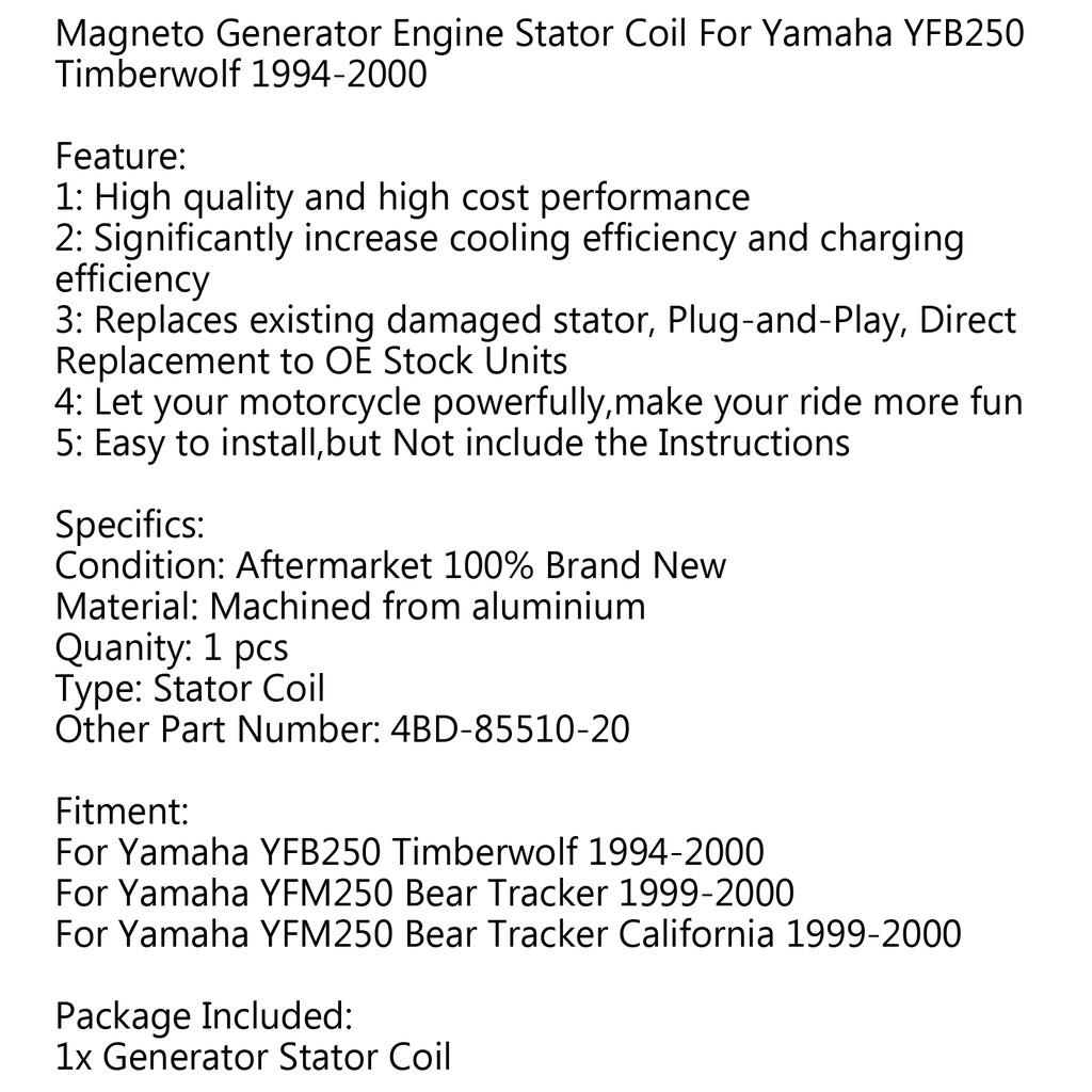 อุปกรณ์ไฟฟ้า areyourshop Generator Stator Coil สำหรับ YFM 250 Bear Tracker  1999-2000 California