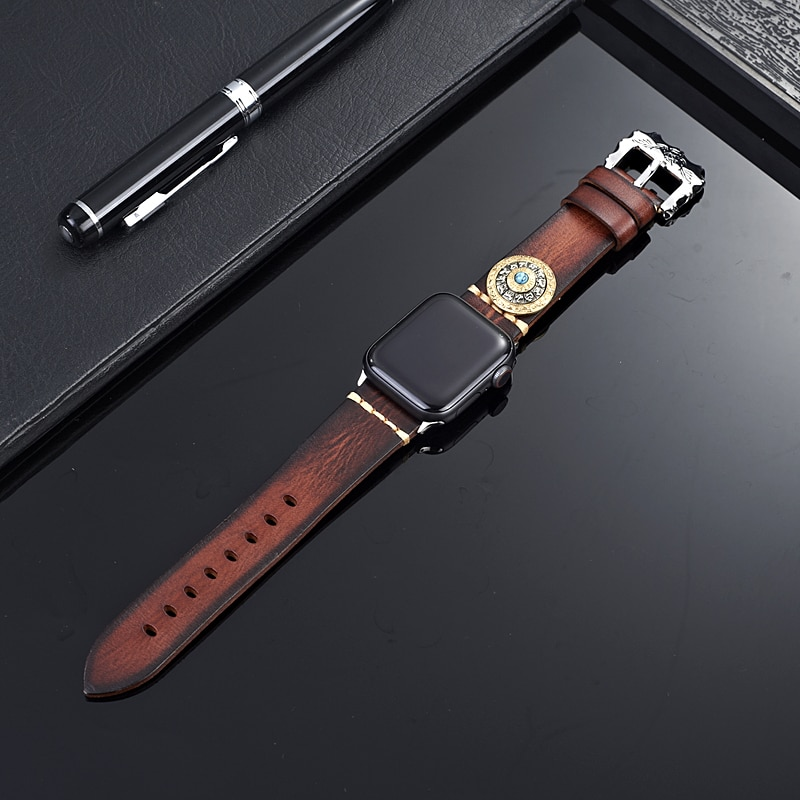 Genuine Leather Strap For Apple Watch 5 Band 44mm 40mm Decompression Chinese Zodiac Watchband for iWatch Series 4 3 2 1