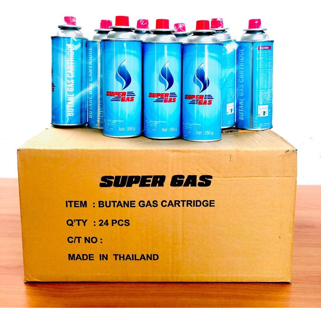 Super Gas แก๊สกระป๋อง (⚡ขายราคาส่ง🚩 ซื้อยกลัง📦) ความจุก๊าซ 250 กรัม ใช้ได้ยาวนานต่อเนื่อง 2-3 ชั่วโมง (24 กระป๋อง/ลัง)