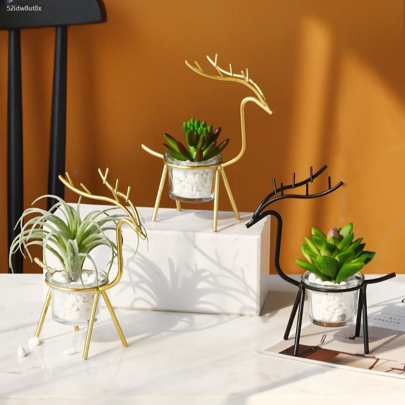 การจำลองพันธุ์ไม้อวบน้ำ㍿❈Nordic จำลองพืช succulent potted เครื่องประดับในร่มปลอมพืชสีเขียวปลอมดอกไม้ห้องนั่งเล่น desktop