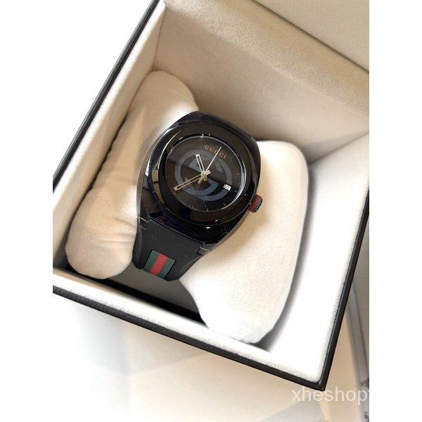 ผ่อน0%~แท้100% Gucci Sync YA137107A Watch Quartz Black 45mm Rubber Strap นาฬิกาข้อมือ