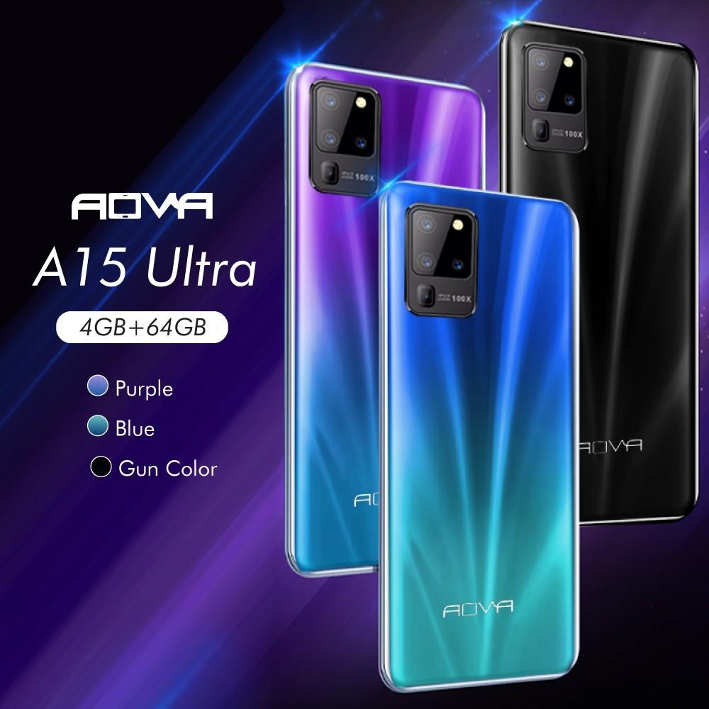 AOVA A15 Ultra สมาร์ทโฟน จอใหญ่ 6 นิ้ว แรม 4 รอม 64 GB ประกันศูนย์  ปี ลงแอปธนาคารได้ แถมพาวเวอร์แบงค์ ขาตั้ง แหวนมือถือ