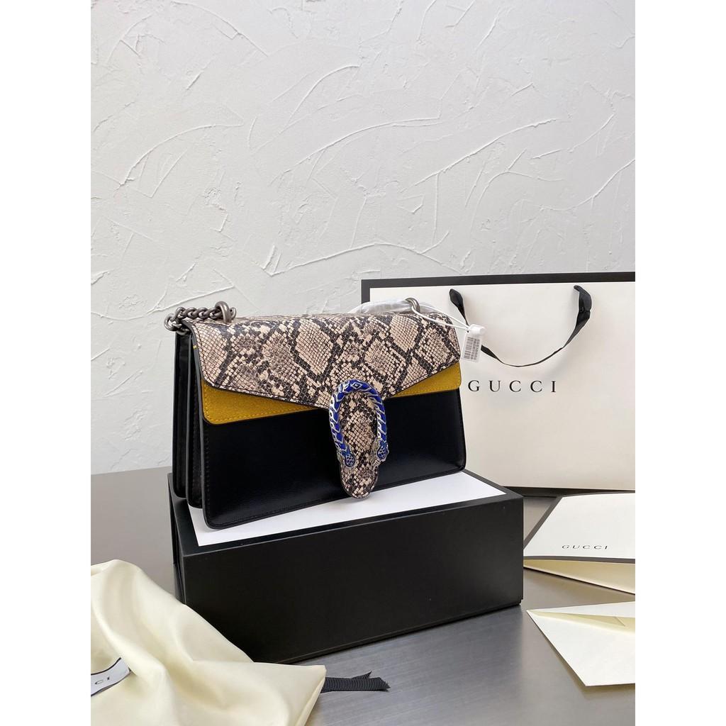 [กระเป่า]2021 🔥✨Shangxin? [exclusive? Real Shot] Gucci Wannian's Latest Design Snake Pattern Dionysus Snakehead Bag