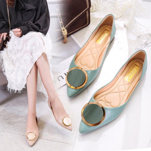 รองเท้าหัวแหลม🌈รองเท้าส้นแบน🌈รองเท้าส้นแบน รองเท้าลำลอง รองเท้าผู้หญิง รองเท้าแฟชั่น รองเท้าคัชชูผู้หญิงนำเข้า พื้นนุ่
