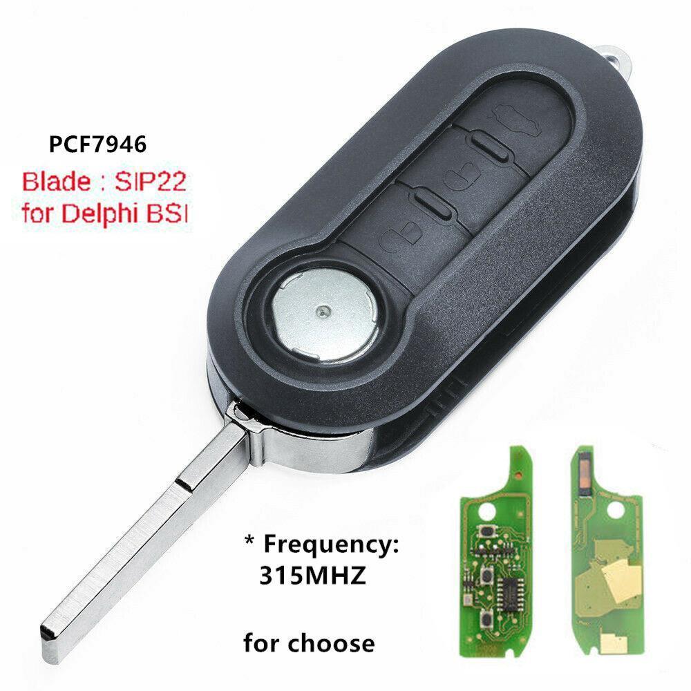 Remote Key Fob 433MHz PCF7946 for Fiat 500 Grande Punto Doblo Qubo Delphi BSI